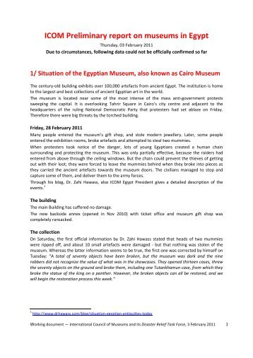 ICOM Preliminary report on museums in Egypt