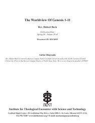 The Worldview Of Genesis 1-11 - Institute for Theological Encounter ...