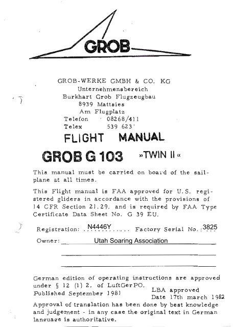 N4446Y USA Twin II Flight Manual - Utah Soaring Association
