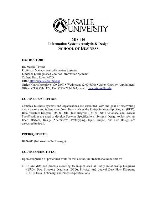 Mis 410 Dr Madjid Tavana Professor Of Management Information