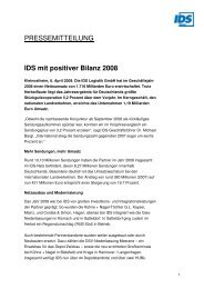 IDS mit positiver Bilanz 2008 - IDS Logistik GmbH