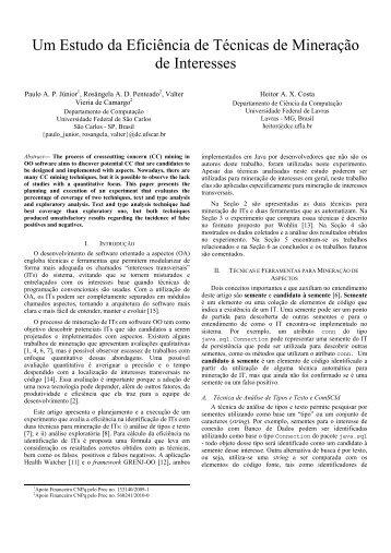 Um Estudo da Eficiência de Técnicas de Mineração - Departamento ...