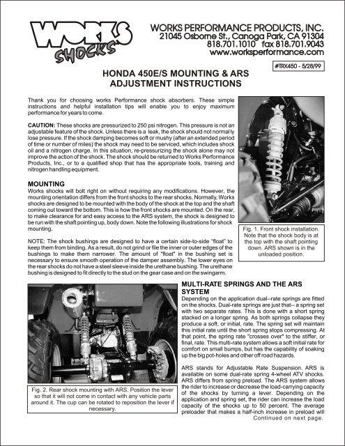Honda 450E/S Mounting & ARS Adjustment     - Works Shocks