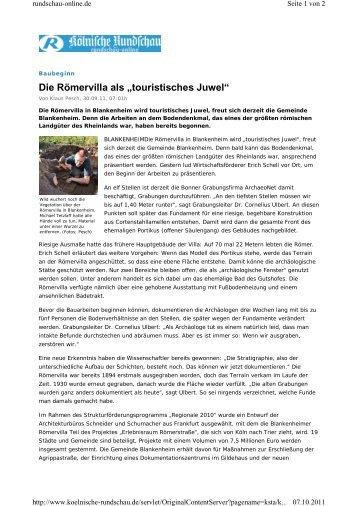 """Die Römervilla als """"touristisches Juwel"""" - Römervilla Blankenheim"""