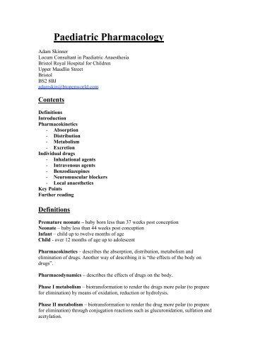 Paediatric pharmacology (48) - aagbi