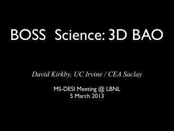 BOSS Science - University of California, Irvine
