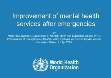 Improvement of mental health services after ... - Cittadinanza