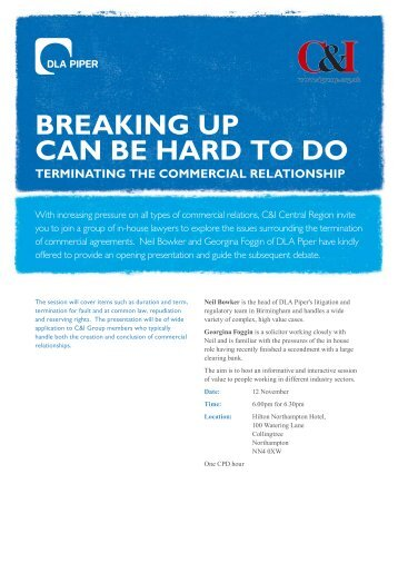 BREAKING UP CAN BE HARD TO DO TERmINATING ... - C&I Group