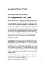 IDS bringt Fenster und Türen - IDS Logistik GmbH