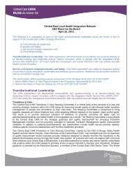 CEO Report - Central East Local Health Integration Network