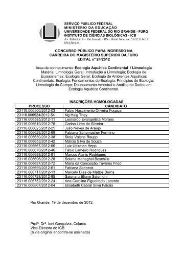 ICB - Proc 5535 2012-17 Inscrições homologadas - progep - Furg