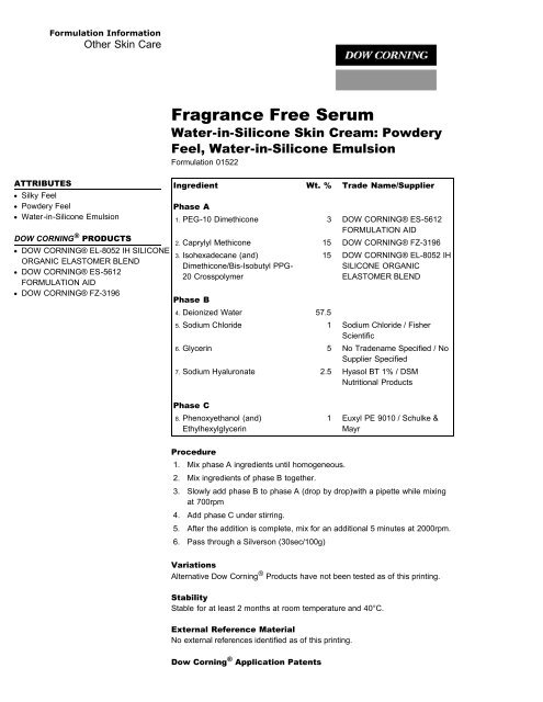 Fragrance Free Serum - Dow Corning