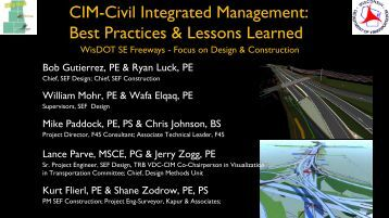 CIM-Civil Integrated Management: Best Practices & Lessons Learned