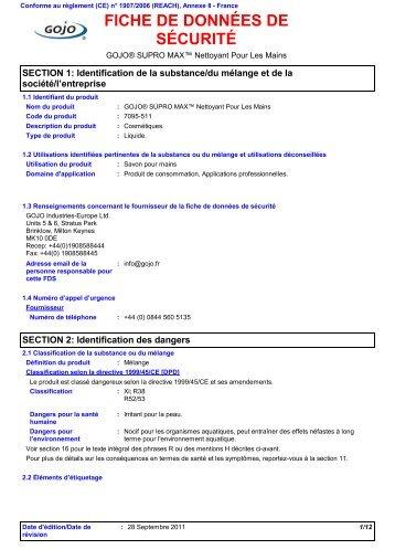 fiche de données de sécurité - GOJO Industries, Inc.