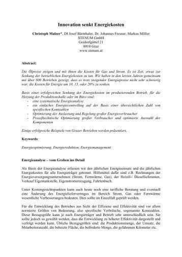 Innovation senkt Energiekosten - STENUM GmbH