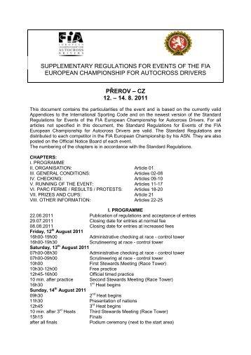 Supplementary regulations Ax – Nova Paka 2011 ... - Autocross-EM