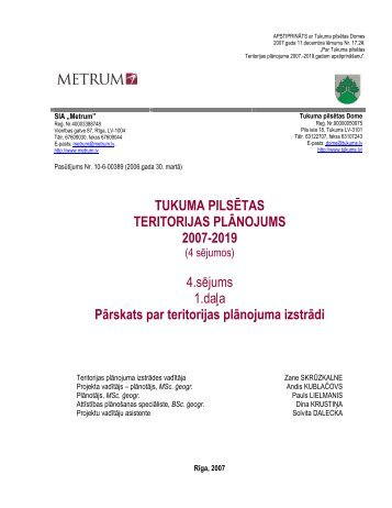 TUKUMA PILSĒTAS TERITORIJAS PLĀNOJUMS 2007-2019 4 ...