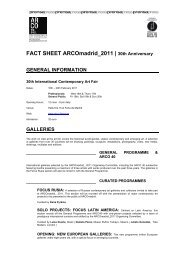 FACT SHEET ARCOmadrid_2011 | 30th Anniversary