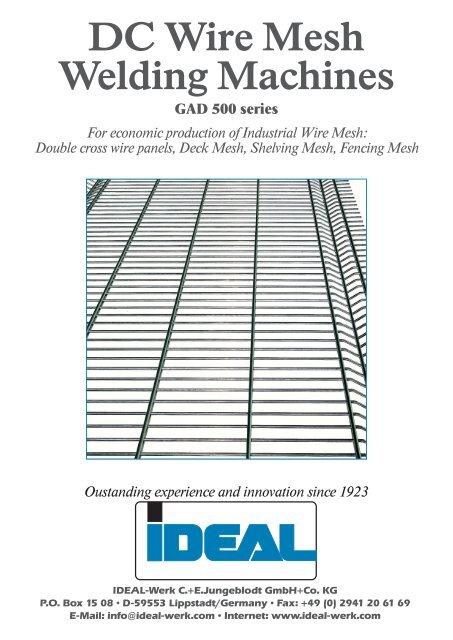 DC Wire Mesh Welding Machines - IDEAL-Werk C. + E. Jungeblodt ...