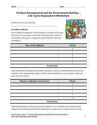 Life Cycle Assessment Worksheet - Teach Engineering