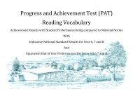 (PAT) Reading Vocabulary - Waikanae School