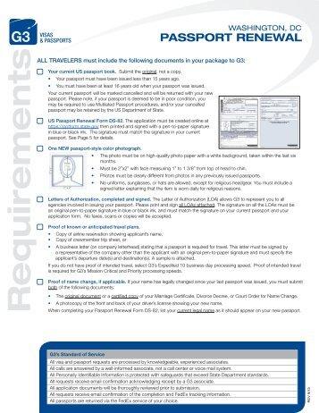 Passport Renewal Instructions - G3 Visas & Passports