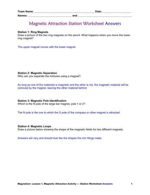 Magnetic Attraction Station Worksheet Answers - Teach
