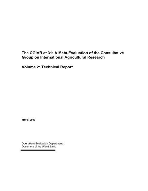Technical Report - Independent Evaluation Group - World Bank