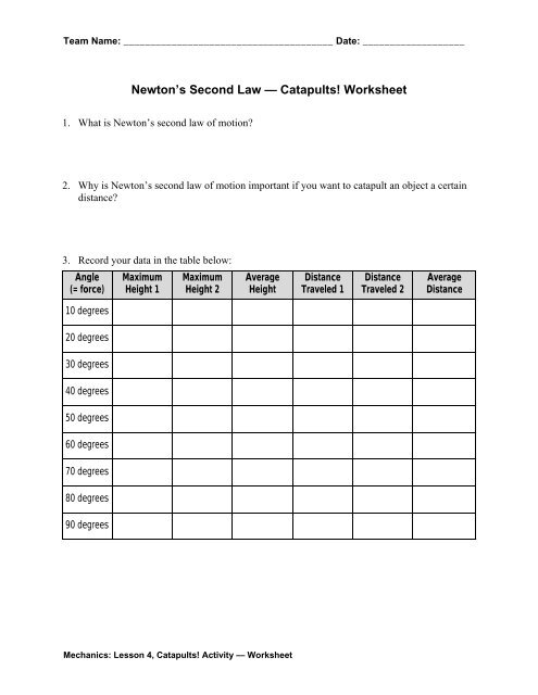 Newton S Second Law Catapults Worksheet Teach Engineering