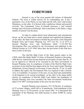 FOREWORD - Government of Himachal Pradesh