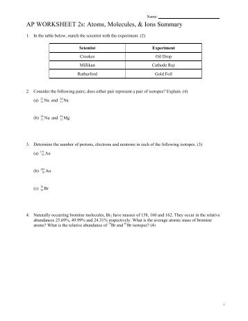 Atoms molecules and ions worksheet answers