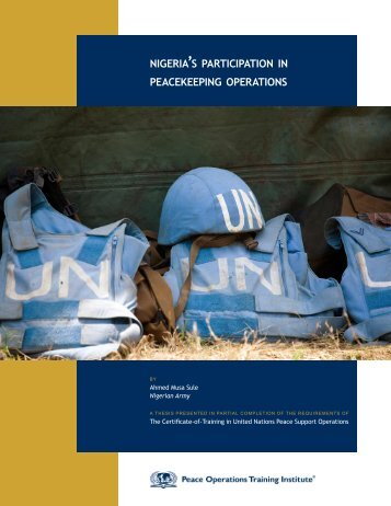 NIGERIA'S PARTICIPATION IN PEACEKEEPING OPERATIONS