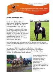 Rahmenprogramm Allgäuer Pferde Tage 6. und 7. Oktober 2007 ...