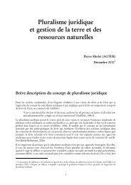 Pluralisme juridique et gestion de la terre et des ressources ... - Agter