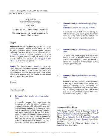 Fortner v. Grange Mutual Ins. Co. - Insurance Coverage Corner