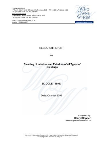 RESEARCH REPORT on Cleaning of Interiors and ... - (Pty) Ltd