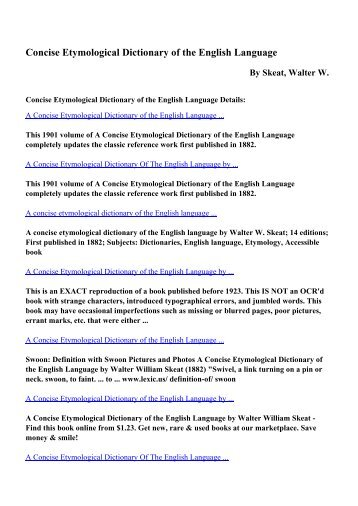 Download Concise Etymological Dictionary of the English Language ...