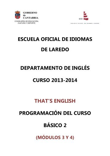 That's English Nivel Básico 2 (módulos 3 y 4) - Escuela Oficial de ...