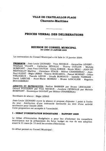 PROCES VERBAL DES DELIBERATIONS - Châtelaillon Plage