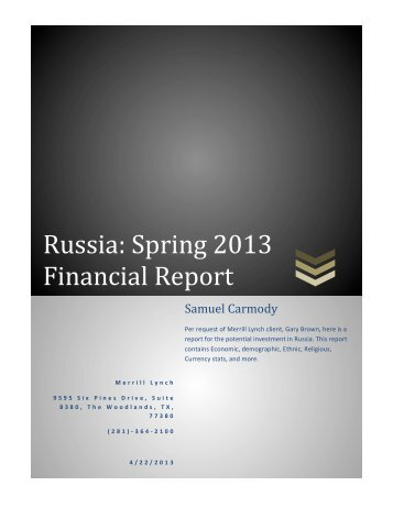 Financial Analysis/Investment Report