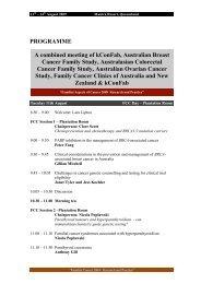 PROGRAMME A Combined Meeting Of KConFab, Australian Breast