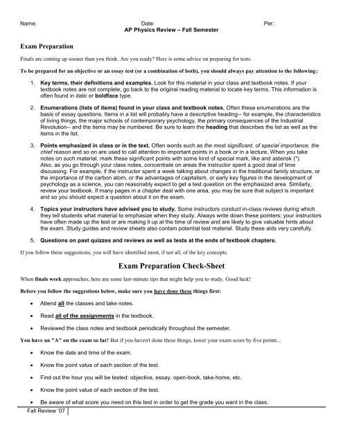AP Physics Review – Fall Semester - Hoover City Schools