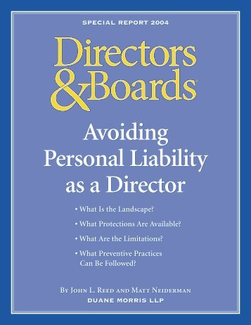 Avoiding Personal Liability as a Director Avoiding Personal Liability ...
