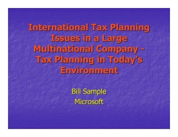 Tax Planning in Today's Environment - Foundation for International ...