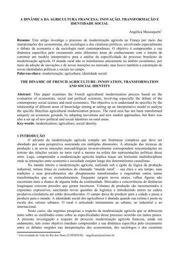 A DINÂMICA DA AGRICULTURA FRANCESA - Revista Economia ...