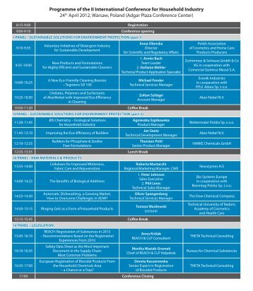 Programme of the II International Conference for Household Industry ...