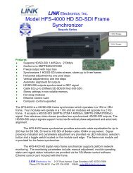 Model HFS-4000 HD/SD-SDI Frame Synchronizer - Link Electronics ...