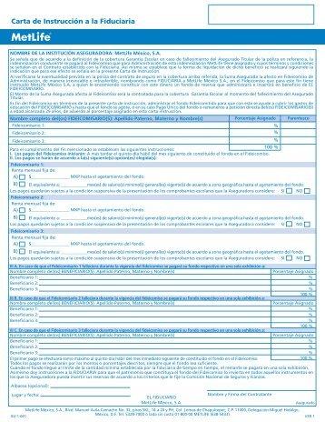 Carta Instrucción a la Fiduciaria para el beneficio de ... - MetLife