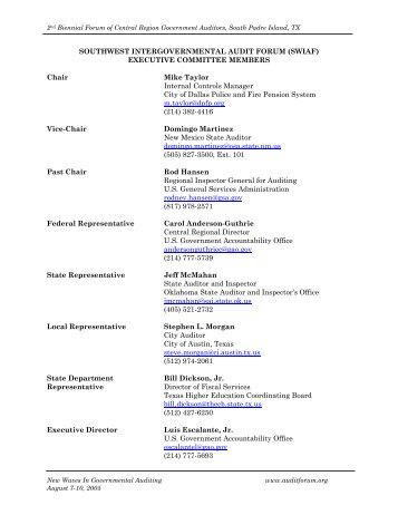 Southwest - intergovernmental audit forums