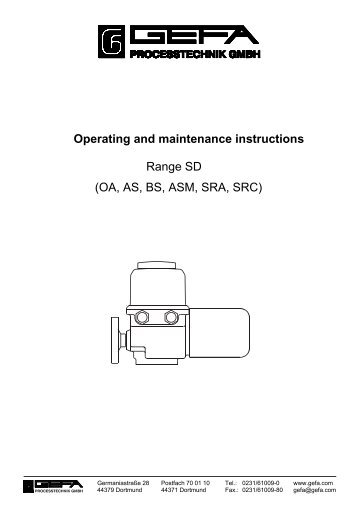 Operating and maintenance instructions